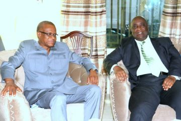 Maman Sambo Sidikou, the head of MONUSCO, and Pierre Lumbi, president of the council of elders of the Rassemblement. Radio Okapi