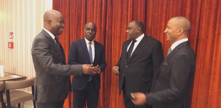 De g. à dr. Adolphe Muzito, Martin Fayulu, Jean-Pierre Bemba et Moïse Katumbi.  © Martin Fayulu/Twitter
